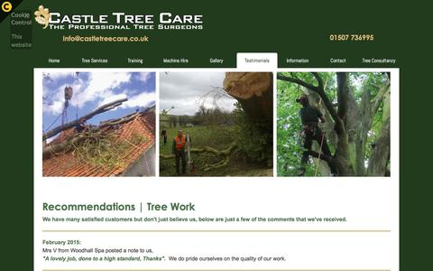 Screenshot of Testimonials Page castletreecare.co.uk - Testimonials | Tree Work Recommendations | Lincolnshire | Castle Tree Care - captured Dec. 7, 2015