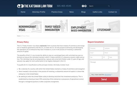 Screenshot of Privacy Page katsmanlaw.net - Privacy Policy | Katsman Law Firm - captured Oct. 6, 2014
