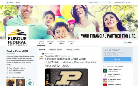 Screenshot of Twitter Page twitter.com - Purdue Federal CU (@PurdueFed) | Twitter - captured Oct. 15, 2015