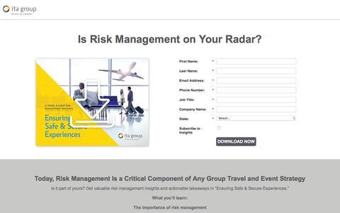 Screenshot of Landing Page itagroup.com - Ensuring Safe & Secure Experiences | ITA Group - captured Jan. 30, 2017