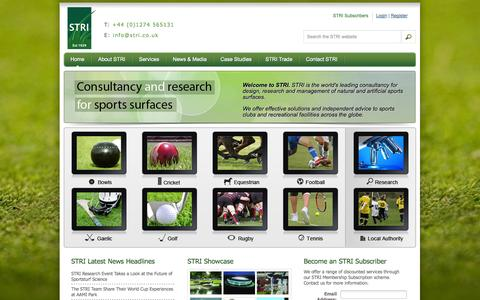 Screenshot of Home Page stri.co.uk - Sports Turf Research Institute (STRI) Providing Sports Turf & Sports Pitch Services - captured Oct. 3, 2014