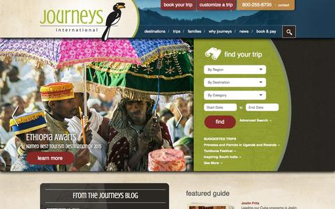 Screenshot of Home Page journeysinternational.com - Journeys International - captured Sept. 16, 2015