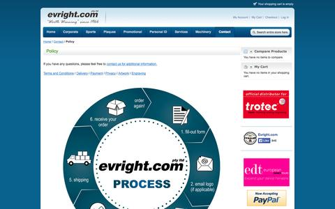 Screenshot of Privacy Page evright.com - Welcome to Evright.com - Policy - Contact If it's from Evright.com it's Worth Winning! - captured Oct. 3, 2014