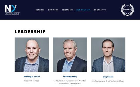 Screenshot of Team Page netdes.com - Leadership — Network Designs Inc. - captured Feb. 15, 2019
