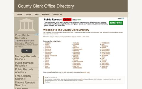 Screenshot of Home Page county-clerk.net - County Clerk Office - captured Feb. 21, 2016