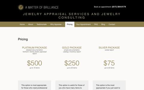 Screenshot of Pricing Page ambappraisal.com - Pricing - A Matter of Brilliance - captured Oct. 2, 2014