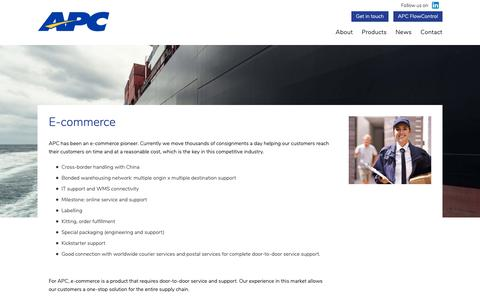 Screenshot of Products Page apclogistics.com - E-commerce | APC Logistics - captured Oct. 2, 2018