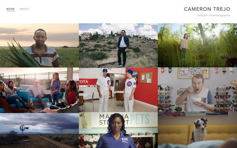 Screenshot of Home Page camerontrejofilms.com - Cameron Trejo - captured July 15, 2018