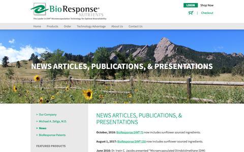 Screenshot of Press Page bioresponse.com - News Articles, Publications, & Presentations - BioResponse - captured Nov. 13, 2018