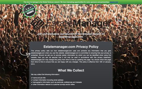 Screenshot of Privacy Page estatemanager.com - Estatemanager.com - Privacy & Policy - captured Dec. 10, 2015