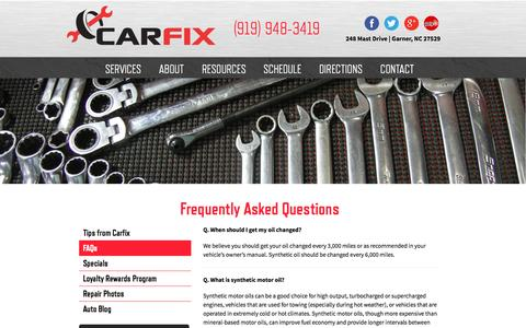 Screenshot of FAQ Page carfix.us.com - Frequently Asked Questions | CarFix | Garner, NC - captured Sept. 27, 2014