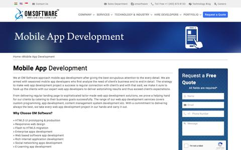 Screenshot of Services Page omsoftware.net - Mobile App Development Company India, Bangalore - captured Aug. 27, 2016
