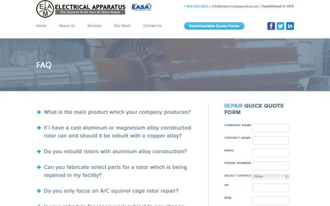 Screenshot of FAQ Page electricalapparatus.net - FAQ - Electrical Apparatus - captured Nov. 3, 2016