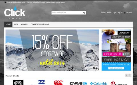 Screenshot of Home Page click-surf.co.uk - Click Surf | Surfwear, Lifestyle and Fashion - captured Sept. 30, 2014