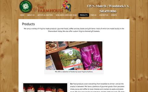 Screenshot of Products Page allthingsva.com - Virginia Made Products- Gourmet Foods, Custom Gift Baskets, Locally Roasted Coffee from All Things Virginia at The Farmhouse - captured Nov. 20, 2016