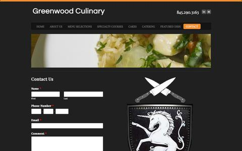 Screenshot of Contact Page weebly.com - Contact - Greenwood Culinary - captured Sept. 17, 2014