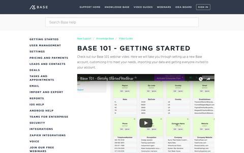 Screenshot of Support Page getbase.com - Base 101 - Getting Started – Base Support - captured Oct. 9, 2018