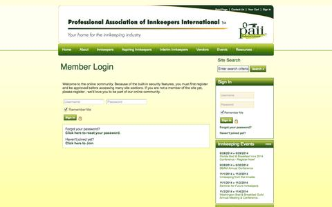 Screenshot of Login Page innkeeping.org - PAII - captured Sept. 19, 2014