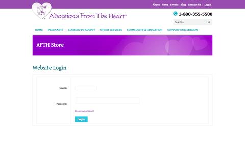 Screenshot of Login Page afth.org - AFTH Store - captured Oct. 4, 2014