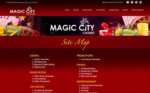 Screenshot of Site Map Page magiccitycasino.com - Magic City Casino - Site Map - captured March 8, 2016