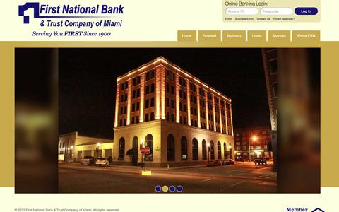 Screenshot of Home Page fnbmiami.com - The First National Bank and Trust - captured Jan. 21, 2017