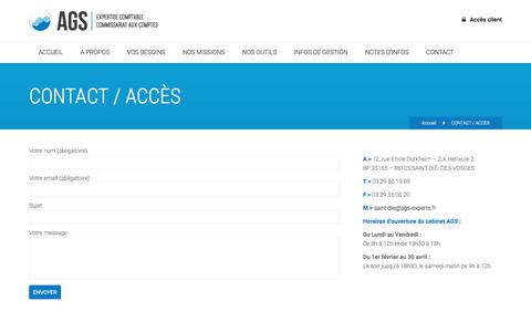 Screenshot of Contact Page ags-experts.fr - AGS    CONTACT / ACCÈS - captured June 2, 2016