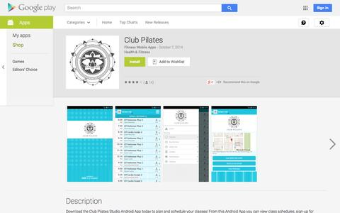Screenshot of Android App Page google.com - Club Pilates - Android Apps on Google Play - captured Oct. 22, 2014