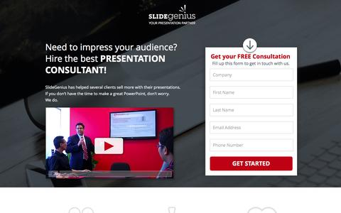Screenshot of Landing Page slidegenius.com - PowerPoint Presentation Consultants | Speak With One Today - captured Feb. 15, 2016