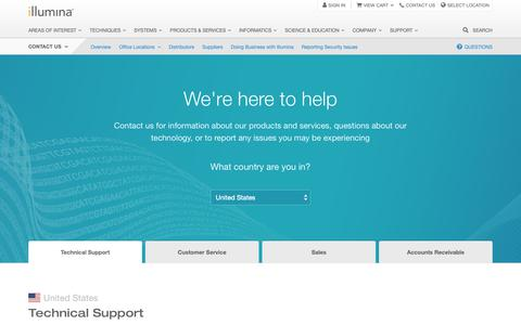 Screenshot of Contact Page illumina.com - Contact Us | Reach Illumina tech support and other key departments - captured March 23, 2019