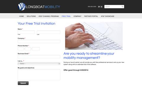 Screenshot of Trial Page longboatmobility.com - White Label Wireless Management Free Trial - Wireless Management Software and Services | Longboat Mobility - captured Sept. 30, 2014
