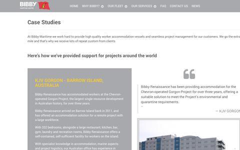 Screenshot of Case Studies Page bibbymaritime.com - CASE STUDIES - captured Oct. 10, 2017