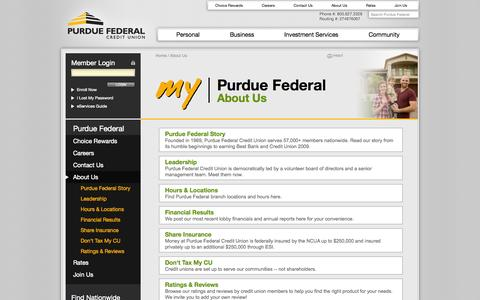 Screenshot of About Page purduefed.com - About Purdue Federal | Purdue Federal Credit Union - captured Sept. 22, 2014
