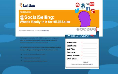 Screenshot of Landing Page lattice-engines.com - Social Selling: What's Really In It for B2B Sales - captured June 7, 2016