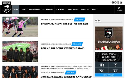 Screenshot of Press Page nzrl.co.nz - Latest News | NZRL - captured Dec. 21, 2018