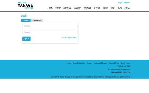 Screenshot of Login Page brandmanage.co.uk - Login - Brand Manage - captured Oct. 5, 2014