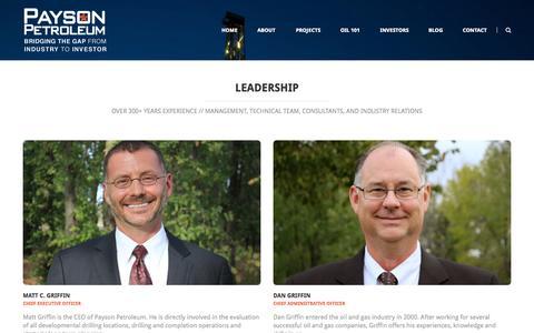 Screenshot of Team Page paysonpetro.com - Leadership | Payson PetroleumPayson Petroleum - captured Oct. 2, 2014