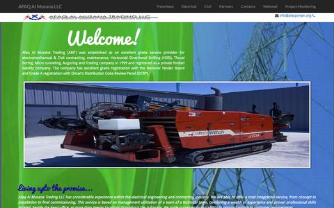 Screenshot of Home Page afaqoman.org - Afaq Al Musana Trading LLC | Horizontal Directional Drilling | HDD | Thrust Boring | Electrical Contracting |Microtunneling - captured Feb. 5, 2016