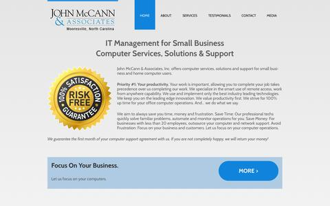 Screenshot of Home Page mccannassociates.com - Computer Repair Mooresville NC & Business Networks - captured Oct. 6, 2014