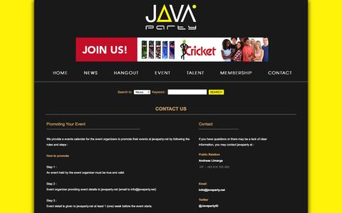 Screenshot of Contact Page javaparty.net - Javaparty's Contact Information | Your Accurate Party Guidance - captured Feb. 11, 2016