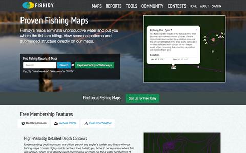 Screenshot of Maps & Directions Page fishidy.com - Online Fishing Maps & Charts | Fishidy - captured Sept. 23, 2014