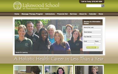 Screenshot of Home Page lakewoodschool.com - Learn Massage Therapy at Lakewood School - captured Oct. 1, 2014