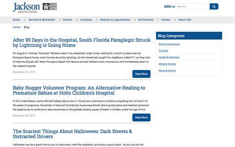 Screenshot of Blog jacksonhealth.org - Blog | Jackson Health System - captured Dec. 11, 2019