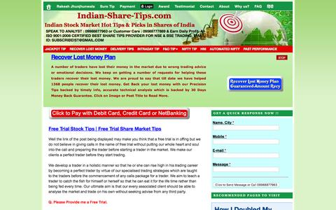 Screenshot of Trial Page indian-share-tips.com - Free Trial Stock Tips | Free Trial Share Market Tips | Indian Stock Market Hot Tips & Picks in Shares of India - captured Aug. 30, 2016