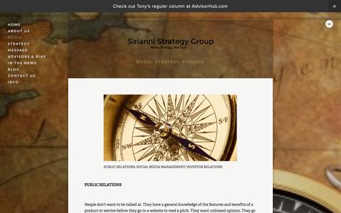 Screenshot of Press Page siriannistrategygroup.com - MEDIA — Sirianni Strategy Group - captured Oct. 9, 2014