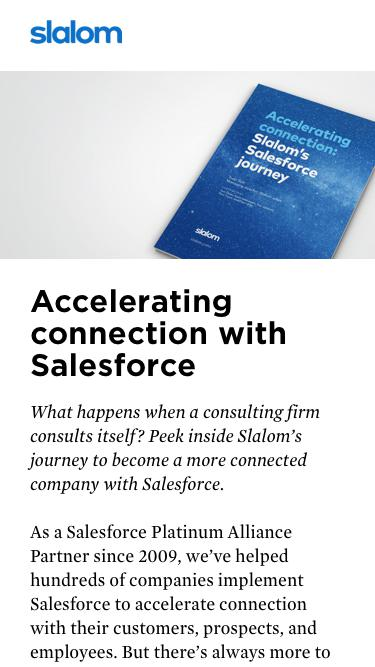 Accelerating connection with Salesforce
