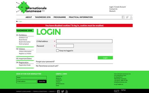 Screenshot of Login Page tanzmesse.com - Login - tanzmesse nrw - captured June 9, 2016
