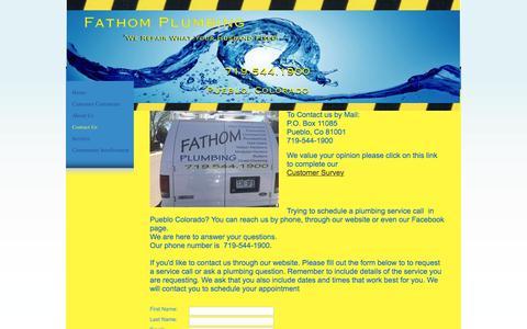 Screenshot of Contact Page fathomplumbing.com - Fathom Plumbing - Contact Us - Pueblo, CO - captured Jan. 8, 2016