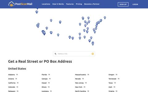 Screenshot of Signup Page Locations Page postscanmail.com - Virtual Addresses and Digital PO Box | PostScan Mail - captured March 21, 2019
