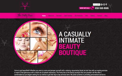 Screenshot of Home Page theprettyboxlajolla.com - Pretty Box | A casually intimate beauty boutique - captured Oct. 9, 2014