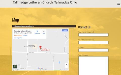 Screenshot of Maps & Directions Page tlcoh.org - Map - Tallmadge Lutheran Church, Tallmadge Ohio - captured April 23, 2017